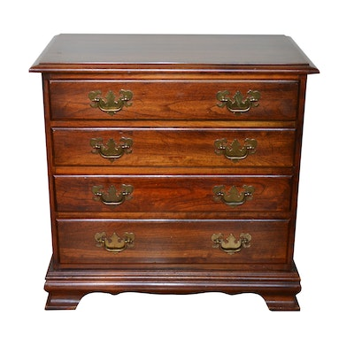 Colonial Four Drawer Nightstand, Late 20th Century