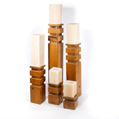 Contemporary Hand Carved Wood Pillar Candle Holders with Candles
