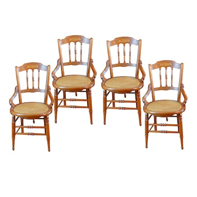 Four Victorian Eastlake Cane Seat Walnut Chairs, Late 19th Century