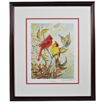 """John Ruthven Offset Lithograph """"Cardinals"""""""