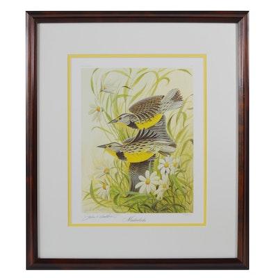 "John Ruthven Offset Lithograph ""Meadowlarks"""