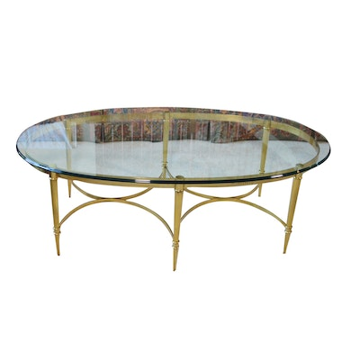 Brass and Glass Oval Coffee Table, Late 20th Century