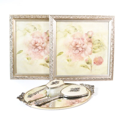 Vanity Set with Pair of Decorative Floral Offset Lithographs