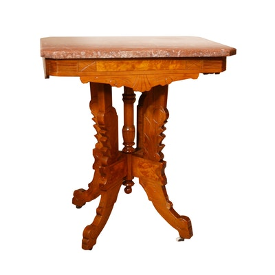Victorian Eastlake Walnut and Marble Parlor Table, Late 19th Century