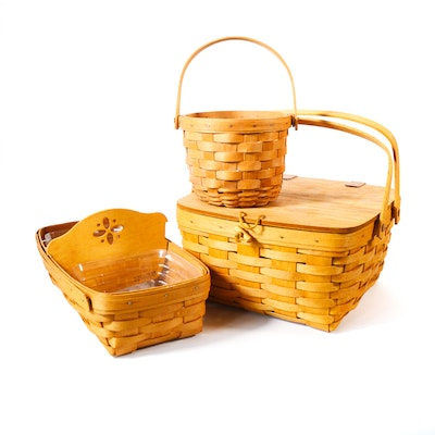 Longaberger Double Handle Pie Basket and Other Longaberger Baskets