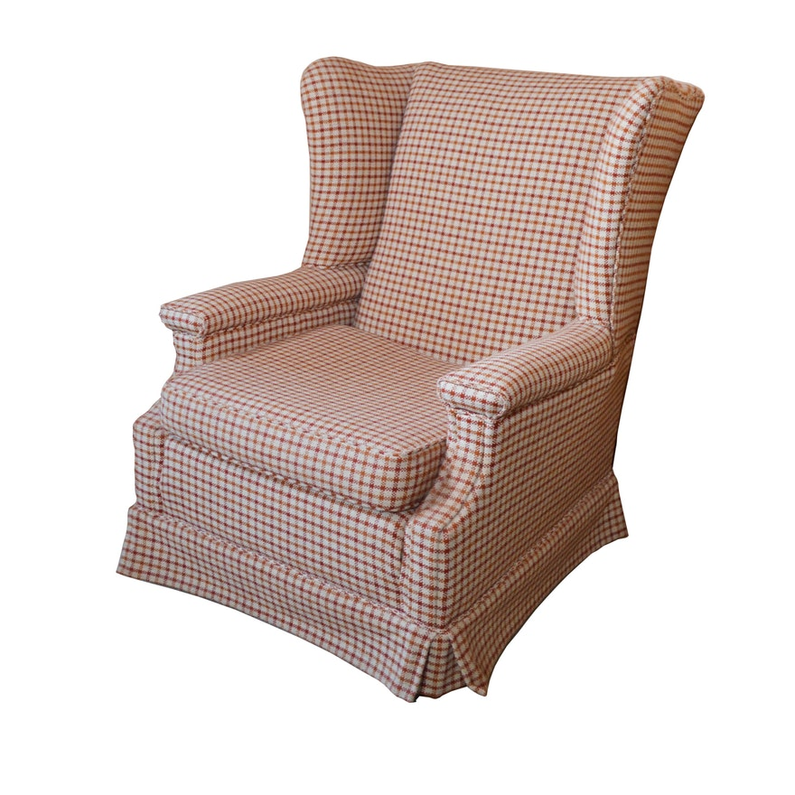 Plaid Wool Upholstered Wingback Chair, Mid to Late 20th Century