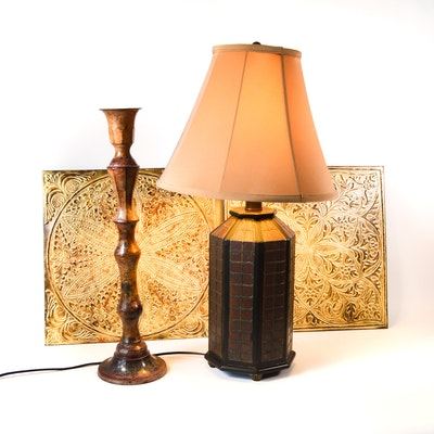 Rustic Decor Including Metal Wall Panels and Table Lamp