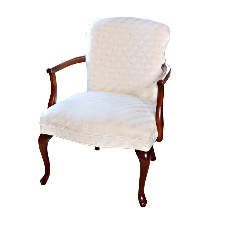Queen Anne Style Cream Upholstered Armchair, Vintage