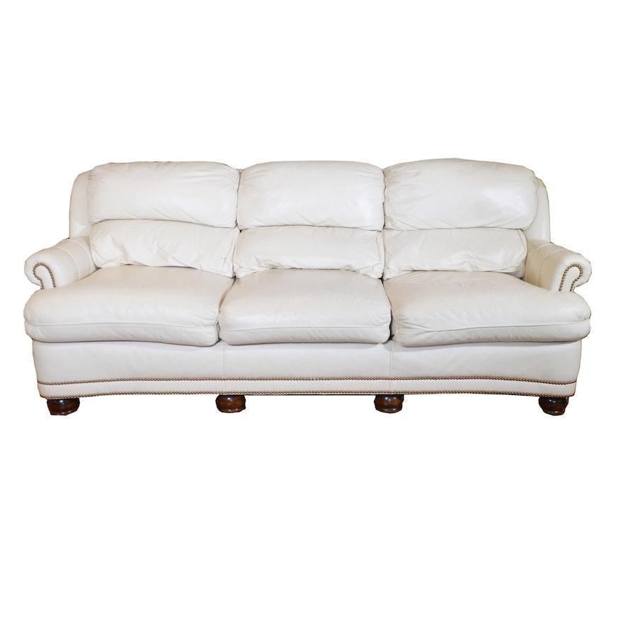 Hancock & Moore Cream Leather Sofa, Contemporary
