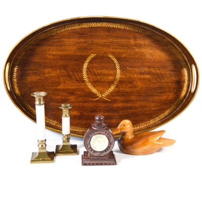 Toyo Oval Wood Tray, Candlesticks and Other Decor