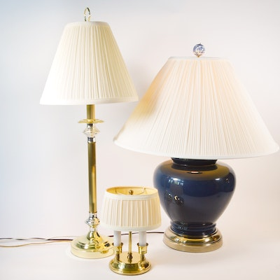 Blue Ceramic Jar Table Lamp and Other Brass Tone Accent Lamps