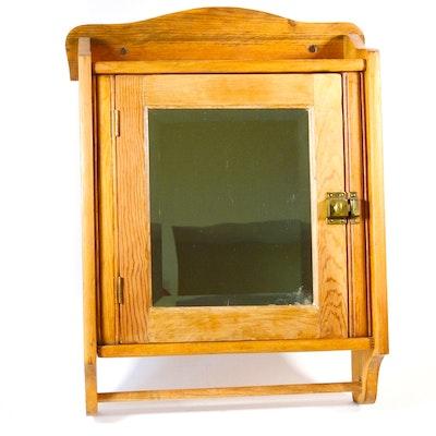 Oak Vanity Wall Cabinet, Vintage