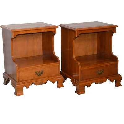 Pair of Kling Factories Cherry Nightstands, Mid-20th Century