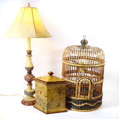 Resin Table Lamp with Birdcage Decor