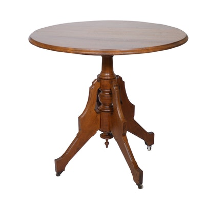 Victorian Walnut Round Table, Late 19th/Early 20th Century