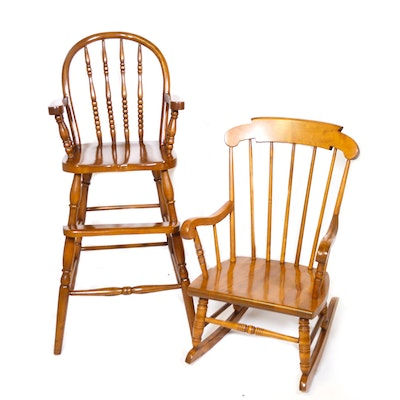 S. Bent & Bros. Children's Rocking Chair and Other Toddler Highchair