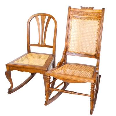 Eastlake and Colonial Revival Cane Seat Rocking Chairs, Antique