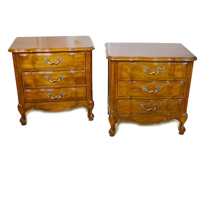 Pair of Thomasville Tableau Collection Scalloped Nightstands, Late 20th Century
