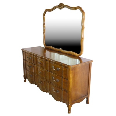 Thomasville Tableau Collection Scalloped Dresser with Mirror, Late 20th Century