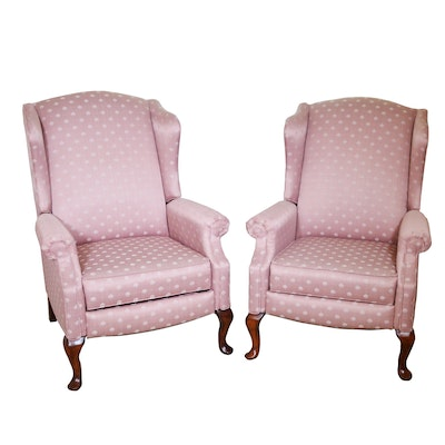 Schloemer Furniture Queen Anne Style Wingback Recliners, Mid-20th Century