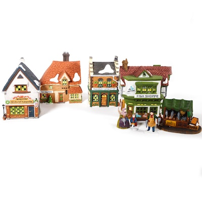 "Dept. 56 Dickens' Village Series ""The Mermaid Fish Shoppe"" and Other Businesses"