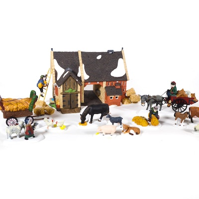 "Dept. 56 Dickens' Village Series ""Butter Tub Barn"" and Farm Animals"