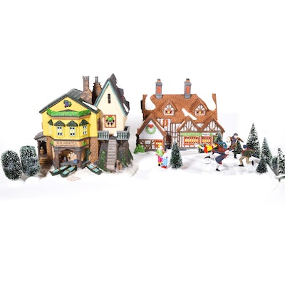 "Dept. 56 Dickens' Village Series ""The Grapes Inn"" and ""Figure Skater on Ice"""