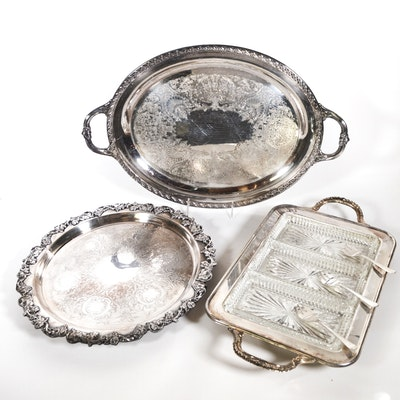 Silver Plate Relish Tray and Other Trays