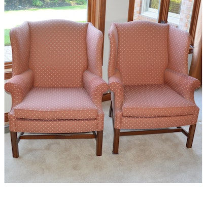 Pair of Woodmark Originals Chippendale Style Wingback Chairs, Late 20th Century