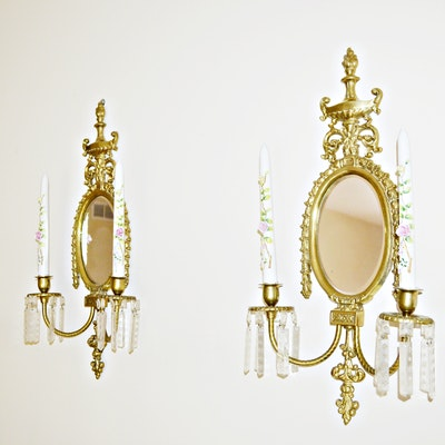 Brass Candle Wall Sconces with Porcelain Candlesticks, Vintage