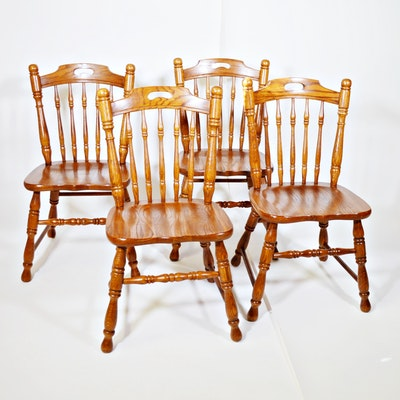 Tell City Oak Chair Co. Dining Chair, Set of Four, Late 20th Century