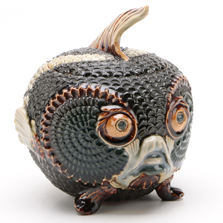 Antique Mark Marshall for Doulton Lambeth Figural Blowfish Jar, c.1885