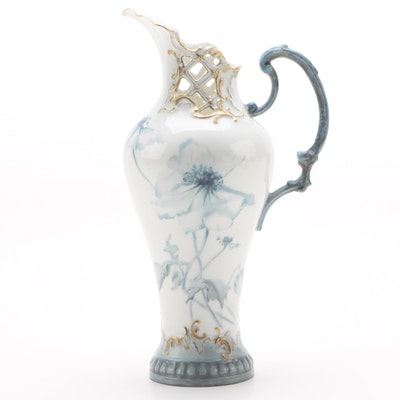 German Hand-Painted Porcelain Ewer, Late 19th Early 20th Century