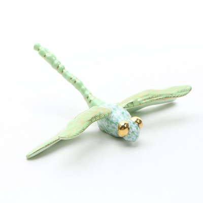 "Herend Key Lime Fishnet with Gold ""Dragonfly"" Porcelain Figurine"