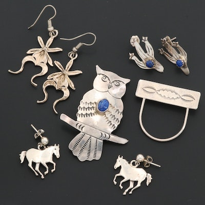 Signed Southwestern Style Jewelry Including Manygoats and Lapis Lazuli Gemstones