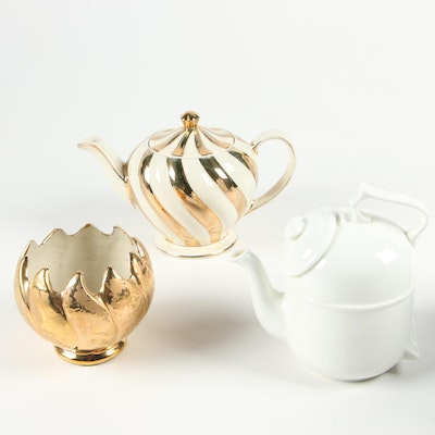 Sadler and Ronnefeldt Teapots with Gold Tone Vase