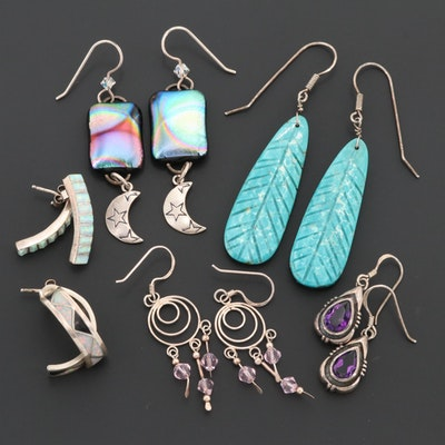 Sterling Silver Amethyst, Synthetic Opal, and Resin Earrings Featuring Kabana