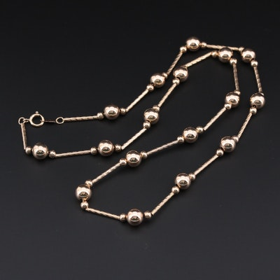 10K Yellow Gold Beaded Dot Dash Station Necklace