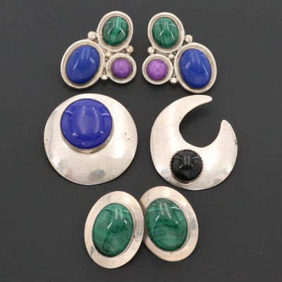 Southwestern Style Sterling Silver Gemstone Earrings and Brooches