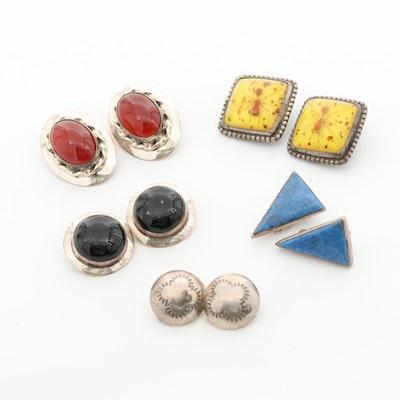 Southwestern Style Sterling Silver Carnelian, Lapis Lazuli, and Resin Earrings