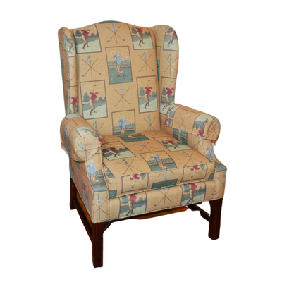 C.R. Laine Golfer Design Wingback Chair, Late 20th Century
