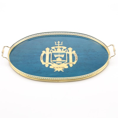 Naval Academy Oval Platter with Brass Gallery and Handles