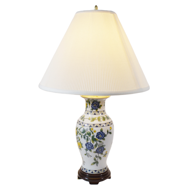 Asian Floral Ceramic Table Lamp