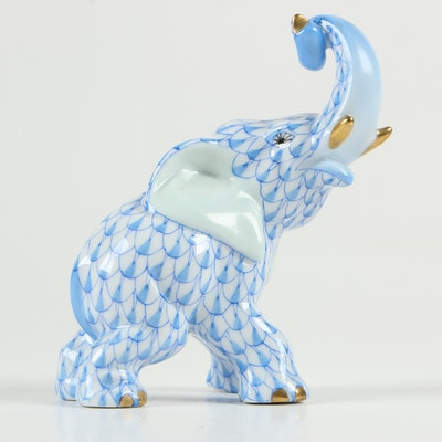 "Herend Blue Fishnet with Gold ""Elephant"" Porcelain Figurine"