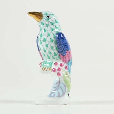 """Herend Green Fishnet with Gold """"Poppinjay"""" Porcelain Figurine"""