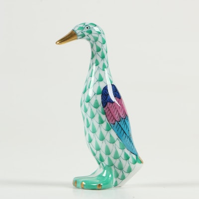 "Herend Green Fishnet with Gold ""Small Duck"" Porcelain Figurine, January 1997"