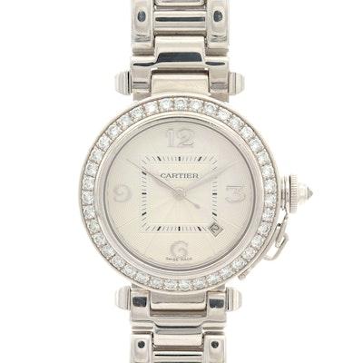 Cartier Pasha 2528 18K White Gold and 1.56 CTW Diamond Wristwatch
