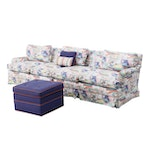 Charles Stewart Company Upholstered Sectional Sofa with Ottoman