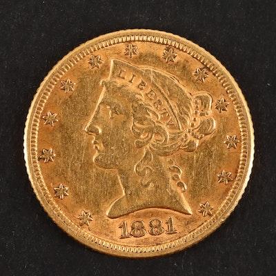 1881 Liberty Head Five Dollar Gold Coin