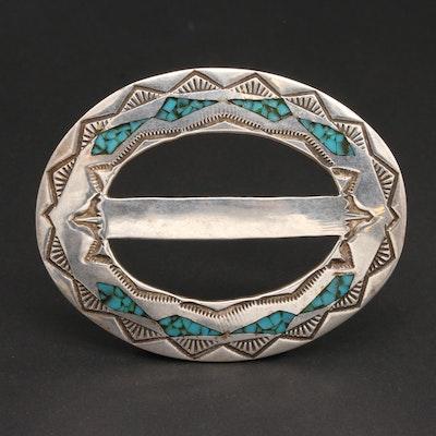 Tom Denesto Navajo Diné Sterling Silver Turquoise Belt Buckle